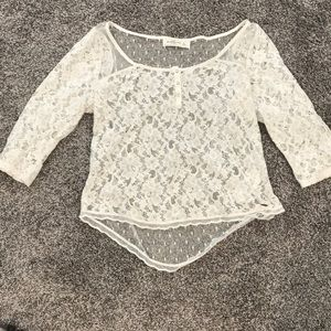 Abercrombie and Fitch sheer lace floral top large